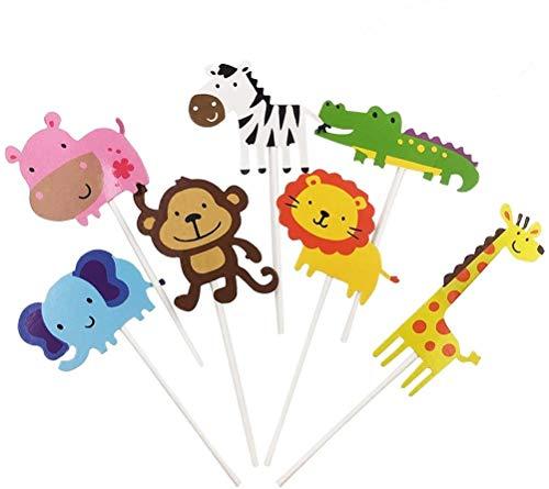 TOYMYTOY Zoo Tier Cupcake Toppers 28 Stücke - Netter Dschungel Tier Kuchen Deckel für DIY Baby Shower Geburtstagskuchen Dekoration