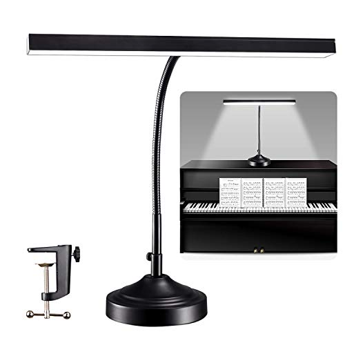 CELYST LED Desk Lamp Piano Light with Interchangeable Base and Clamp, Eye-Caring Table Lamp & Clip Lamp with 3 Color Modes & Stepless Dimming, Memory Function, Flexible Gooseneck for Reading, 10W