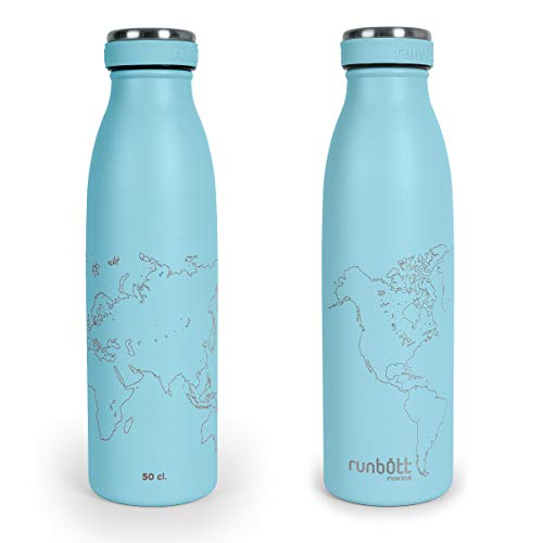 Botella Térmica Runbott City World Map Edition 500ml, Doble Capa de Acero 316 y Silicona, Cero Plásticos. Color Aguamarina