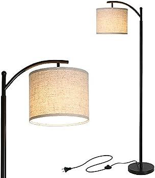 Tomshine Modern Standing Industrial Arc Floor Lamp w/ Hanging Lamp Shade