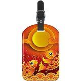Tradizionale Cinese Carpa Rossa Lotus Nuvole Tag ID bagagli Tag Personalizzato per Valigia Etichette di identificazione di viaggio Stampate fai da te