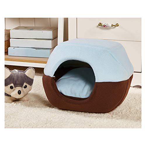 Huisdier Bed Grot 2 in 1 Kat Huis Slaapzakken voor Katten/Kleine Honden, Zelfverwarmende Comfortabele Kat Bed Mat Mat Mand Nest met Verwijderbare Kussen L Blauw