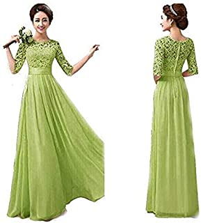 Duplus Evening Lace Dress For Women - Large, Green