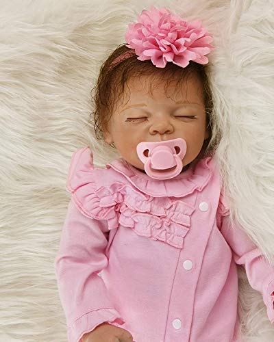 22pulgadas 55cm Reborn niñas Silicona Blanda bebe muñecas Verdadero Baby Dolls Girls Toddler Recien Nacidos Dorm Ojos Cerrados Nino