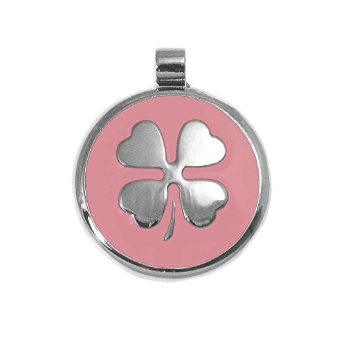 LuckyPet Pet ID Tag - Clover Jewelry Tag - Dog & Cat Pet Tags - Custom Engraved on The Back Side - Size: Large, Color: Pink