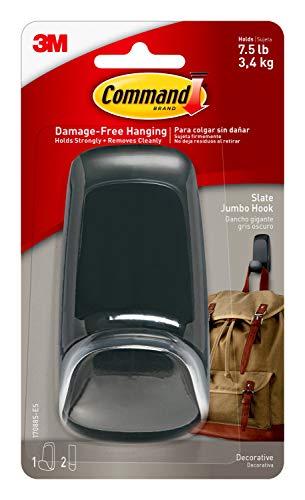 Command Jumbo Hook, Slate, 1-Hook, 2-Strips, 7.5 lb. Capacity, Decorate Damage-Free