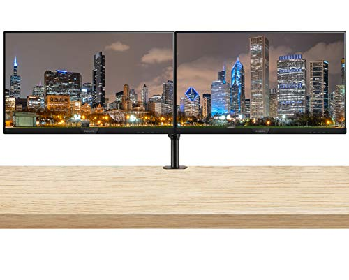 Philips 273V7QJAB 27 Inch 1920 x 1080 FHD IPS LED-Backlit LCD (Speakers, HDMI, VGA, Displayport) 2 Pack Monitor Bundle with Desk Mount Clamp Fully Adjustable Dual Monitor Stand