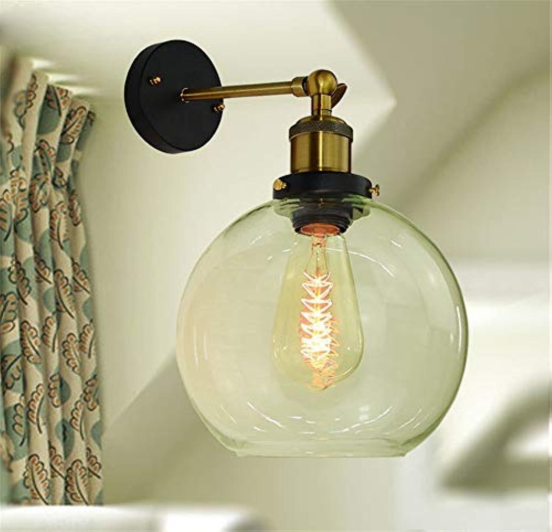 LANGNY Wandleuchte modern Stil Wandlampe Nachtlicht für Bar Schlafzimmer Küche Restaurant Café Flur Babyzimmer Schmiedeeiserne Glasabdeckung, Durchmesser 15 cm milchwei