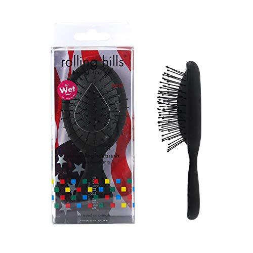 Rolling Hills - Mini Brosse Démêlante - Spéciale pour Cheveux Mouillés - Pour tous Types de Cheveux - Couleur Noire