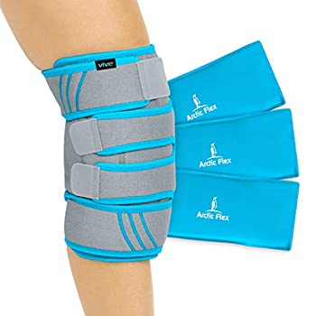 Vive Knee Ice Pack Wrap - Cold / Hot Gel Compression Brace - Heat Support Strap For Arthritis Pain Tendonitis ACL Athletic Injury Osteoarthritis Women Men Running Meniscus and Patella Surgery