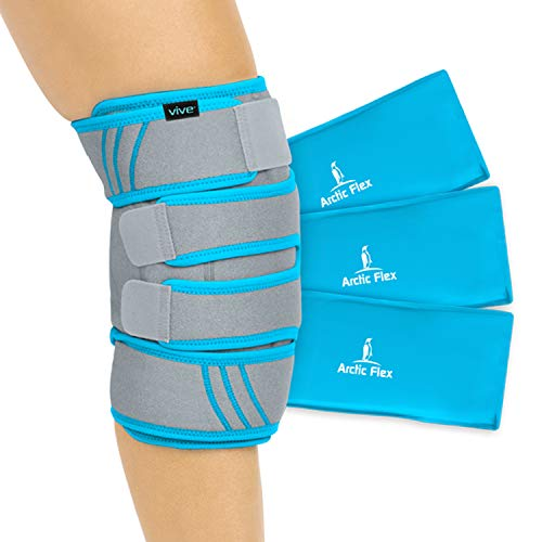 Vive Knee Ice Pack Wrap - Cold/Hot Gel Compression Brace - Heat Support Strap for Arthritis Pain, Tendonitis, ACL, Athletic Injury, Osteoarthritis, Women, Men, Running, Meniscus and Patella Surgery