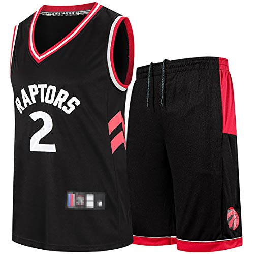 BCVDF Divise da Basket da Uomo, Maglia per Tifosi Raptors Kawhi Leonard No.2, Tuta da Allenamento Sportiva Estiva, Gilet e Pantaloncini, Tessuto di Alta qualità-Black-XXXL