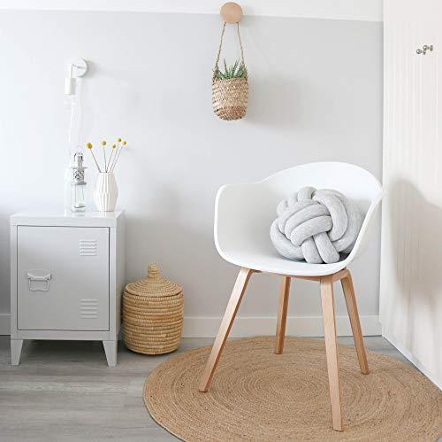 Damiware Romeo Wohnzimmerstuhl Esszimmerstuhl 2er Set Weiß Polypropylen und Buchenholz Retro Design Stuhl für Büro Lounge Küche Wohnzimmergrey (Weiß)