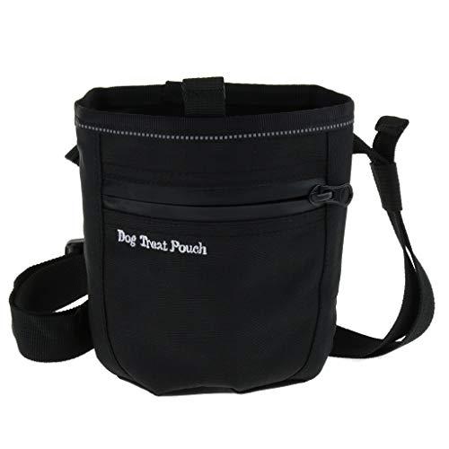 Hunde Futterbeutel Leckerlitasche Leckerlibeutel Futtertasche mit Bauchgurt und Gürtelclip für Hundetraining - Schwarz