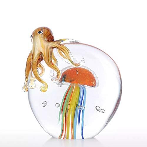 SMEJS Escultura de Pulpo y Medusa de Color, Adorno de Vidrio Hecho a Mano, Figura de Animal, decoración del hogar, Regalo, Accesorios para el hogar