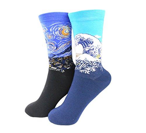 Fantastic Cos Men's Famous Art Patterned Casual Work Cotton Crew Socks (4