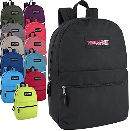 24 Pack- Classic 17 Inch Backpacks in Bulk Wholesale Back Packs for Boys and Girls (Assorted 12 Color Pack)