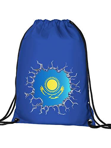 Golebros Kasachstan Kazakhstan Fan Artikel 5730 Fuss Ball Turn Sport Beutel Unisex EM 2020 WM 2022 Trikot Look Flagge Fahne Kinder Kids Junge Mädchen Blau