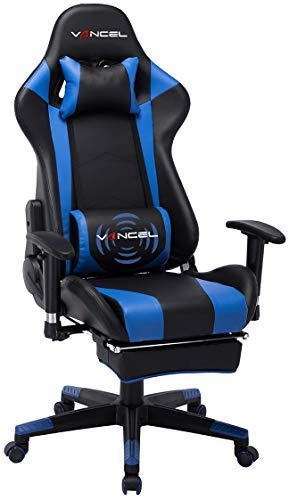 Gaming Chair Office Desk Chair High Back Computer Chair Ergonomic Adjustable Racing Chair Executive PC Chair with Headrest,Massager Lumbar Support & Retractible Footrest (Blue) blue chair gaming