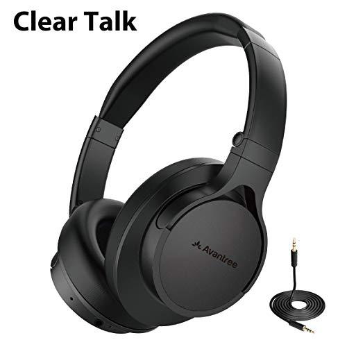 Avantree HS063 zonder audio-uitbreidingen, Fast Stream Bluetooth koptelefoon, over-ear met microfoon voor tv, comfortabel en licht, opvouwbaar, draadloos, draadloze koptelefoon, headset voor tv-computer