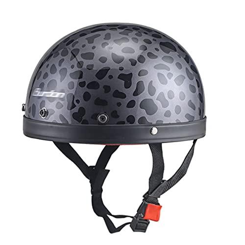 Moda gris estampado de leopardo vintage Harley casco motocicleta media cáscara casco calavera casco bicicleta crucero motocicleta scooter ATV casco aprobado por DOT (circunferencia de la cabeza 55-6