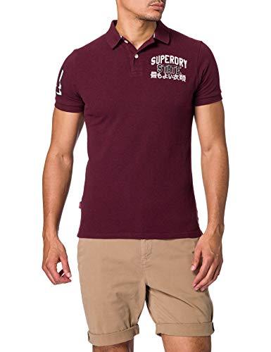 Superdry Mens M1110008A Polo Shirt, Burgundy, M