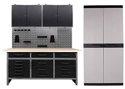 Ondis24 Werkstatteinrichtung 250 x 60 x 205 (H) cm, Arbeitshöhe 85 cm, mit MEGA XL Schrank, bestehend aus Werkbank, 2 x Werkzeugschrank, Euro-Lochwand mit 22 Haken, Metall, Justierfüße, abschließbar