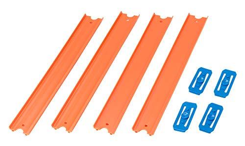 Hot Wheels Track Builder, Pack de 4 pistas rectas, accesorios para pistas de coches (Mattel CCX79)