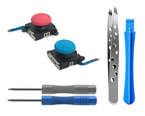 ElecGear [Neue Edition] 2PCs Ersatz-Joystick Analogen Sensor für Nintendo Joy-Con Controller und Switch Lite, Links und Rechts 3D Thumbstick Rocker mit Kappe, Reparatur Werkzeuge Kit (Neon-Rot/Blau)