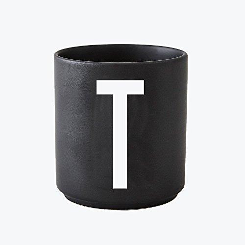 Design Letters - Becher - Buchstabentasse - Buchstabe: T - Porzellan - Schwarz - Arne Jacobsen