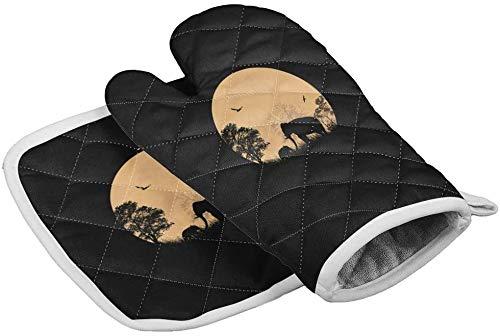 MODORSAN Africa Theme Sunset Elephant Ofenhandschuhe Hitzebeständige Heizkissen mit rutschfesten Grillhandschuhen...
