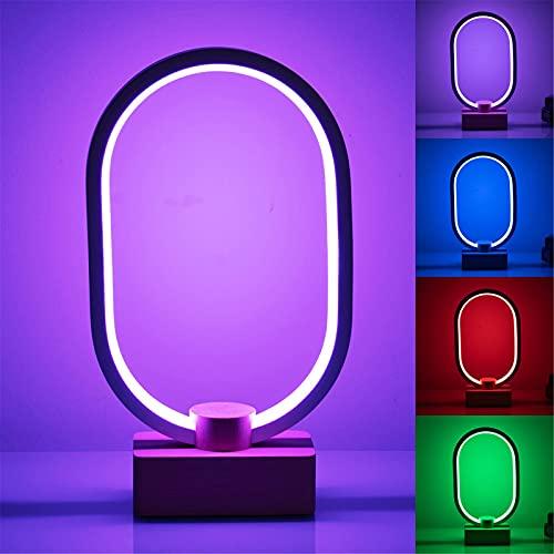 Lámpara de mesa de 5W RGB, 16 colores cambiantes y regulable Lámpara de noche LED Lámparas de escritorio modernas Lámparas de mesita de noche Luz de noche de metal con base de madera para habitacione