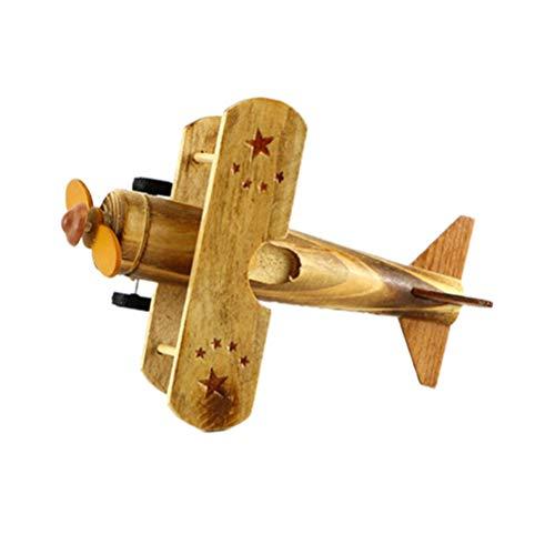 VOSAREA Modelo de Avión de Madera Modelo de Colección Tienda de Adornos de Escritorio Decoración de Oficina en El Hogar Juguetes Educativos Regalos de Cumpleaños