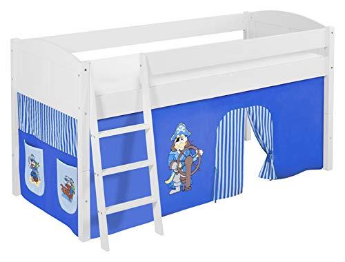 Lilokids Lit Mezzanine IDA 4106 Pirat-Bleu-Rayures - Système de lit évolutif Convertible Blanc - avec Rideau