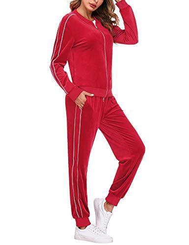 Irevial Tuta Sportive da Donna in Cotone, Tute Ginnastica Abbigliamento Donna Due Pezzi, Morbido Giacca con Zip e Pantaloni con Tasche,Rosso,S