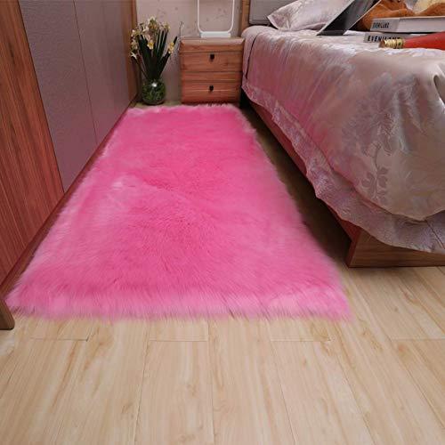 Cumay Faux Lammfell Schaffell Teppich (80x180cm) - Geeignet für Wohnzimmer Teppiche Flauschig Lange Haare Fell Optik Gemütliches Schaffell Bettvorleger Sofa Matte (Tiefes Rosa)