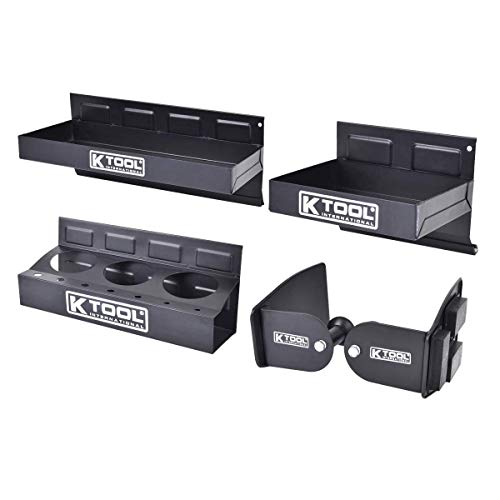 K Tool International Magnetic Toolbox Shelf, Tray and Holder; 4-Piece Set. Strong Magnets, Versatile for Variety of Use, Great for Shop or Garage; KTI72462A