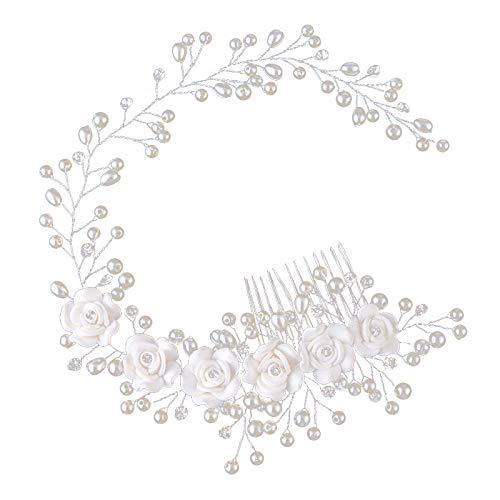 Tiamu Hochzeit Kopfschmuck Perle Haarband Weisse Blume handgemachte Stirnbaender Haarbuerste Braut Haarschmuck Haare kaemmen
