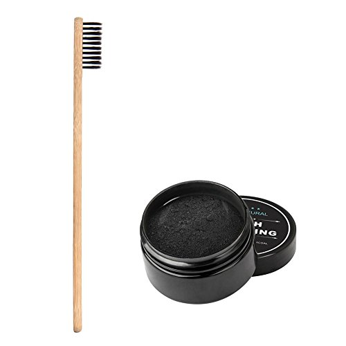 Blanqueador de Dientes Polvo de Dientes, para Dientes Blancos -100 Polvo de Carbón Activo Naturales, Elimina Manchas Dentales, Manchas Café Manchas Té (80g) - Cepillos de Bambú