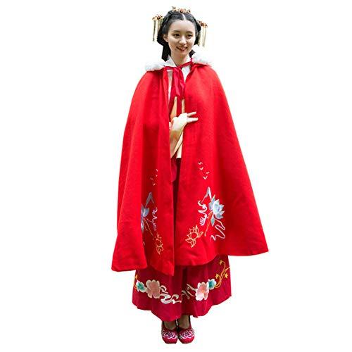 Chinese Stijl Mantel Hanfu Plus Fluwelen Dik Dubbellaags Warm Hooded Lange Mantel Jas