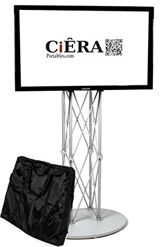 CiERA Portables EZ Fold Portable TV Stand with Padded Carrying Case. Works with 28-70 Inch TV's - Silver