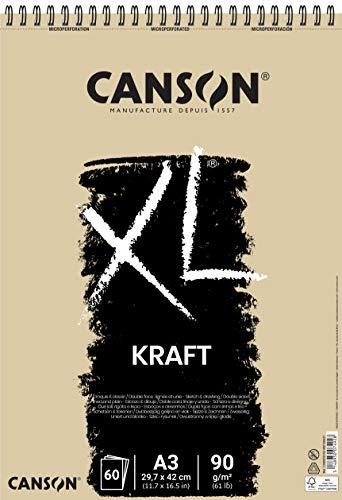 Bloc Dibujo Esbozo Canson Xl Kraft Din A3 Kraft Rayado Beige Espiral 29,7x42 Cm 60 Hojas 90 Gr