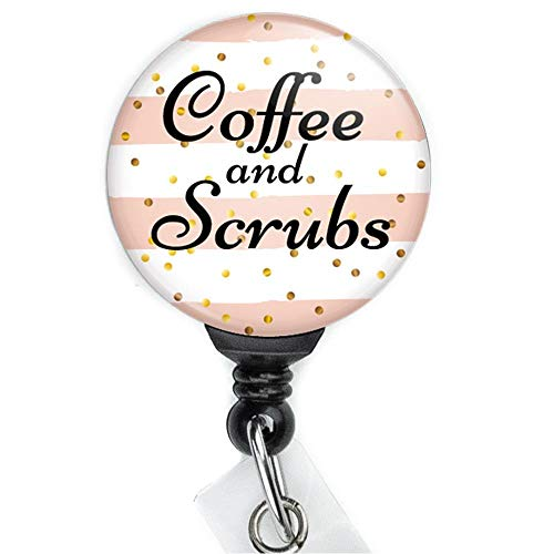 Coffee and Scrubs Pink Retractable Badge Reel with Swing Clip and 36 Inch Cord.