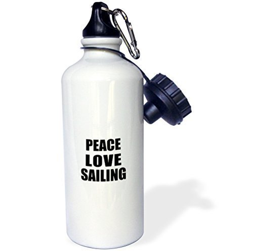 Cukudy Peace Love and Sailing Things That Make Me Happy Sports Botella de agua, 20 oz, color blanco