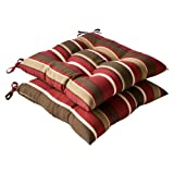 Pillow Perfect Outdoor/Indoor Monserrat Sangria Tufted Seat Cushions (Square Back), 19' x 18.5', Red, 2 Count