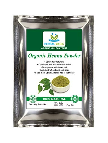 Herbal Magic's USDA CERTIFIED ORGANIC Henna Powder Triple Sifted Henna Hair Dye With Body Art Quality - 200g |Pesticide Free