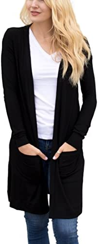 Tickled Teal Women s Soft Long Sleeve Pocket Cardigan Black 3X product image
