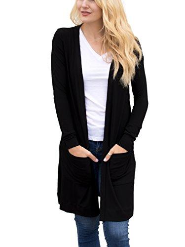 Tickled Teal Women's Soft Long Sleeve Pocket Cardigan (Black, XL)