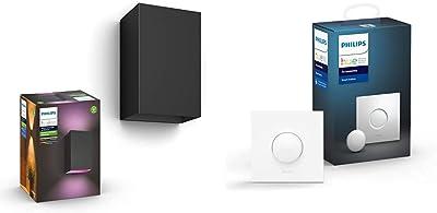 Philips Hue White and Color ambiance RESONATE, Applique noire & Smart Button bouton télécommande intelligent connecté, variateur de lumière