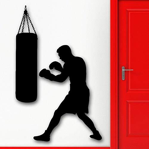 Etiqueta de la pared deportes cabeza de la pared etiqueta de la pared Boxeo Boxer saco de boxeo Martial decoración del hogar accesorios vinilo cartel 42X59CM